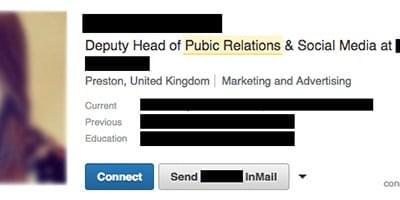 misspellings in current linkedin job titles
