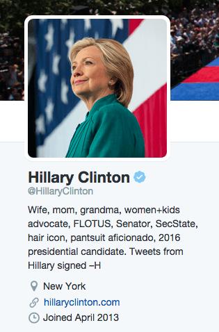 Twitter Bio of Hilary Clinton