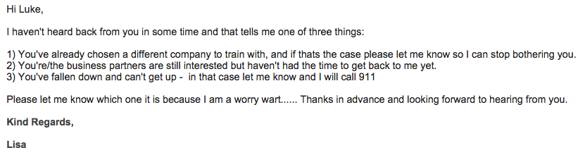 sample email to prospective employer