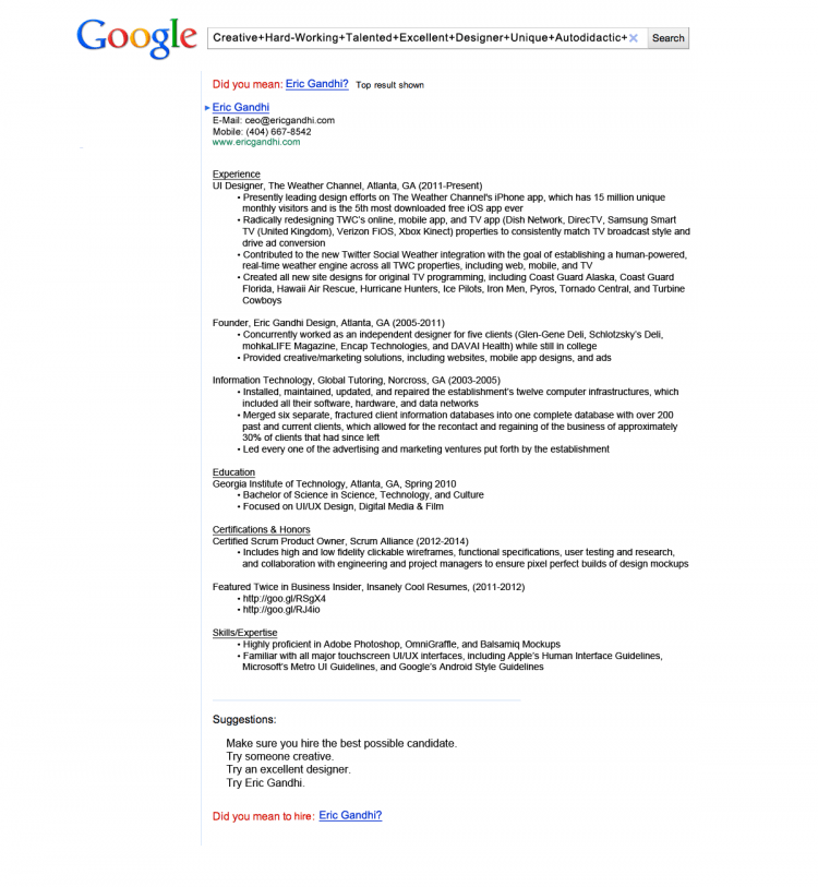 google resume - Unique Resume Examples