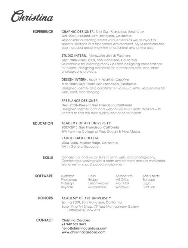 10. Whatu0027s In A Name?  Simple Graphic Design Resume