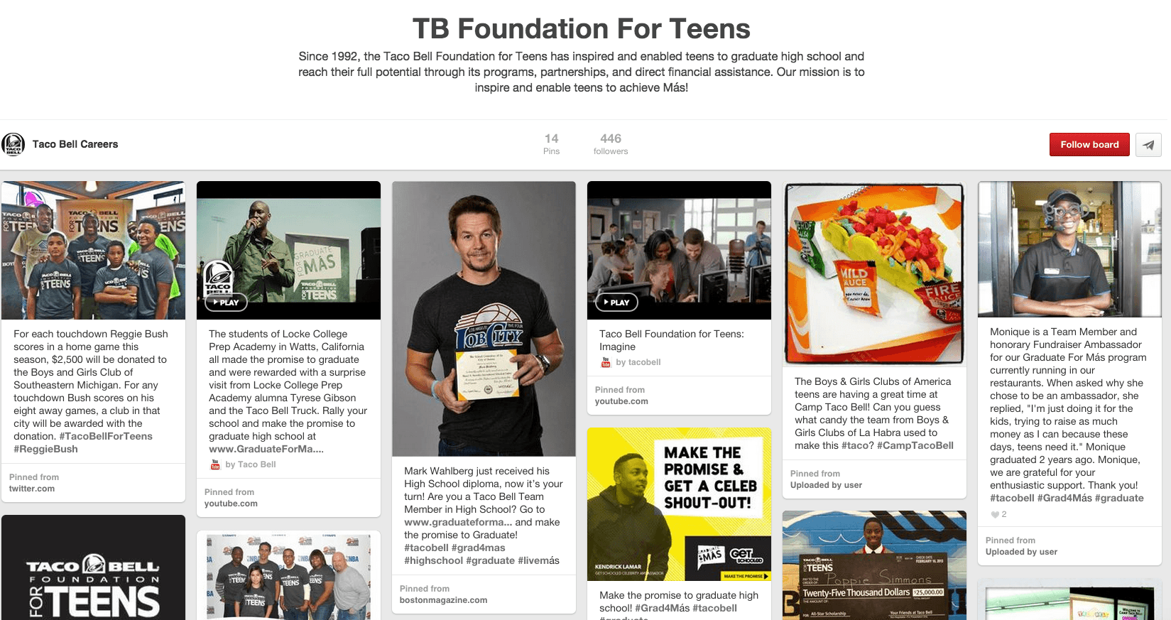 TB Foundation for Teens - Taco Bell Pinterest careers board