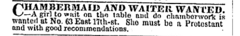 Chambermaid - Vintage Job Ads
