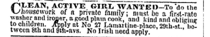 No Irish Need Apply - Vintage Job Ads