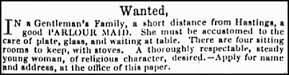 Parlour Maid - Vintage Job Ads