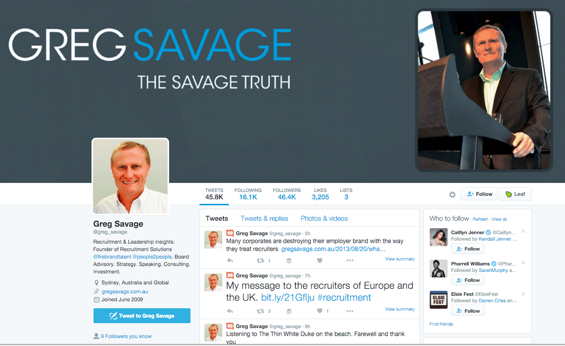 Greg Savage Twitter
