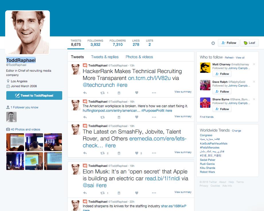 Todd Raphael Twitter