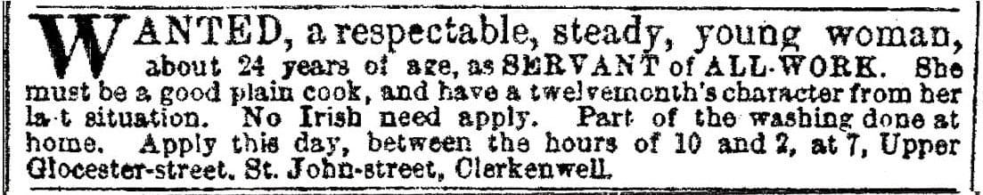 Servant of All Work - Vintage Job Ads