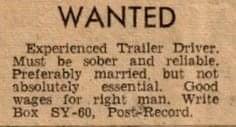 Trailer Dreiver - Vintage Job Ads