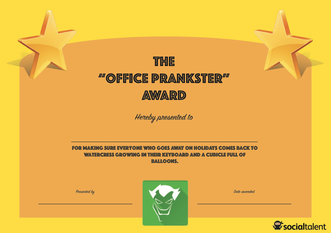 Funny certificates for employees jcmanagement funny certificates for employees alramifo Image collections