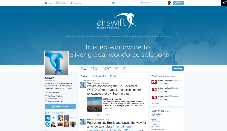 Airswift Twitter