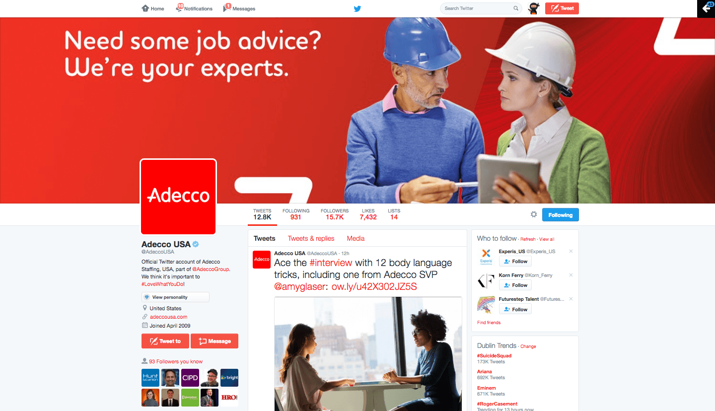 Adecco USA Twitter