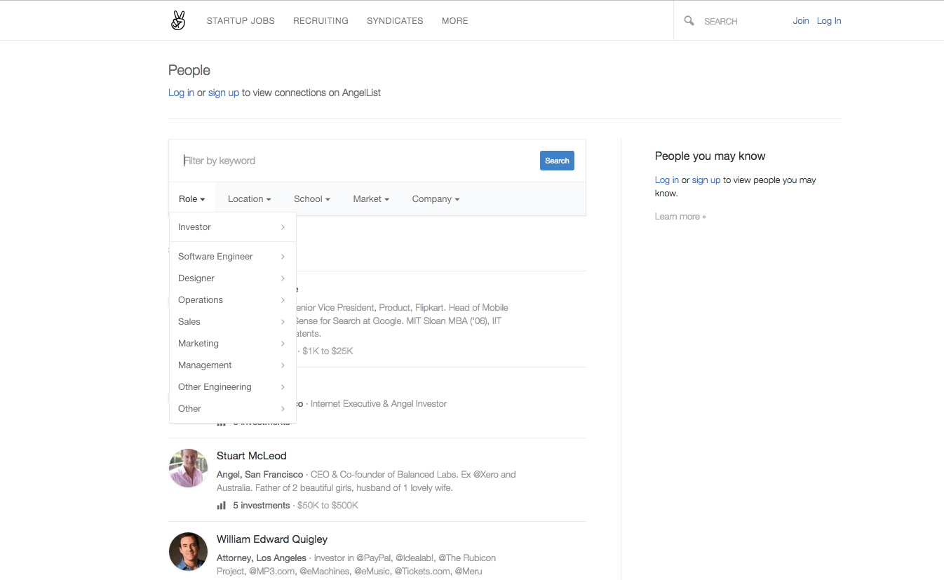 places where recruiters can source top tech talent all you need to do is click on the people section of the website and from there you can filter by job title location school market