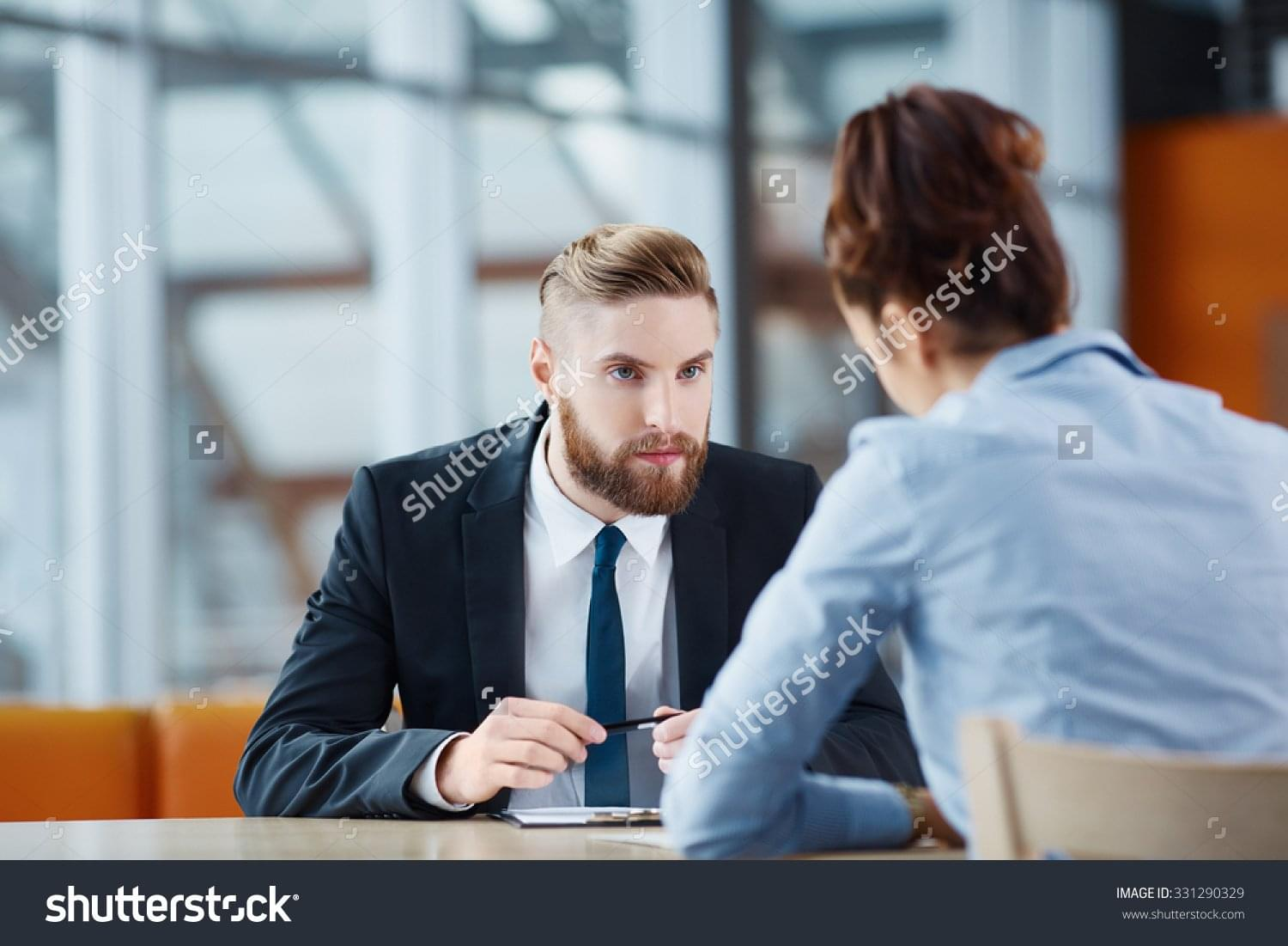 most ridiculous recruitment related stock images stock photo recruiter asking questions during job interview