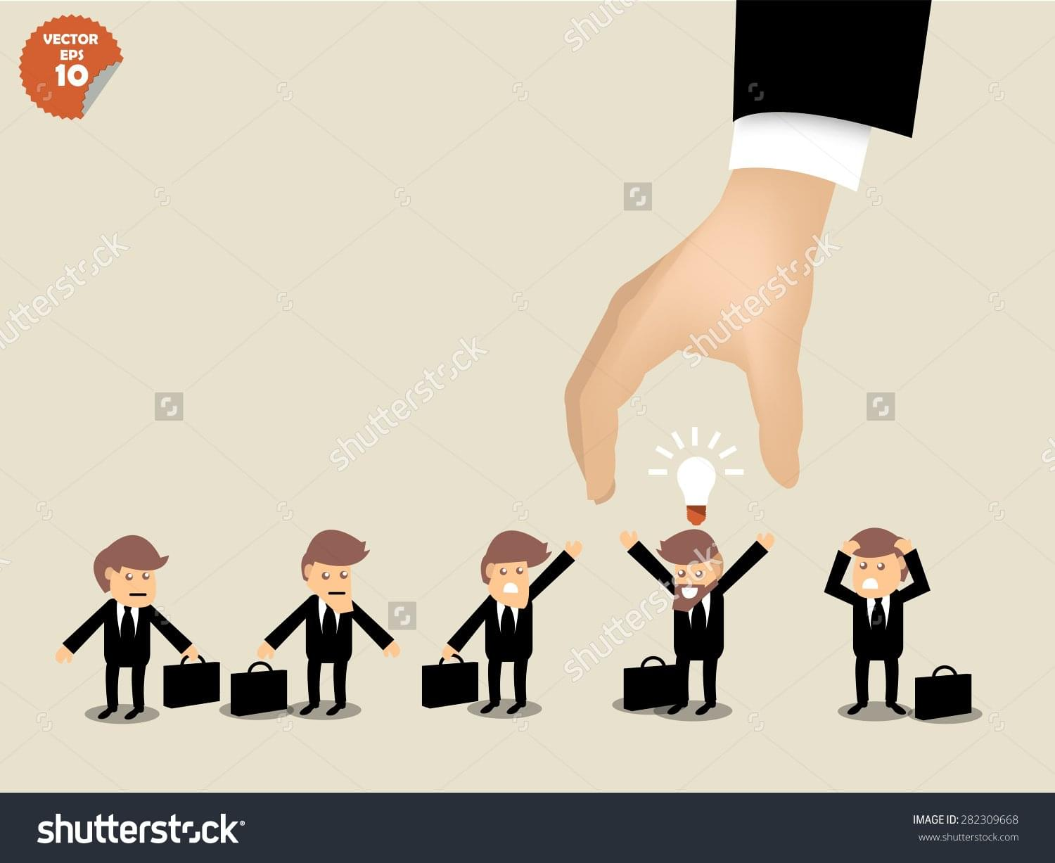stock-vector-recruitment-concept-business-man-choosing-worker-who-has-idea-from-group-of-business-people-282309668