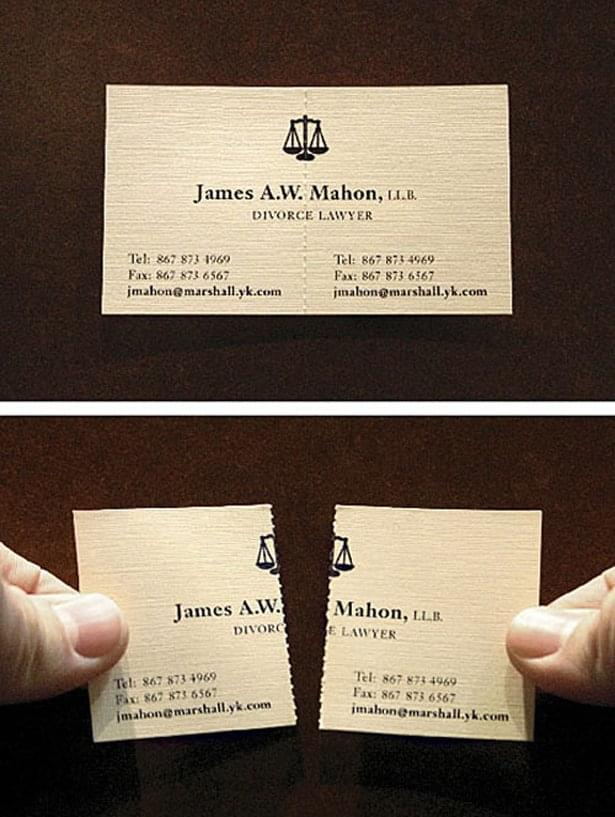 12 amazing business cards that get the job done socialtalent 1 a divorce lawyer both parties can agree on colourmoves