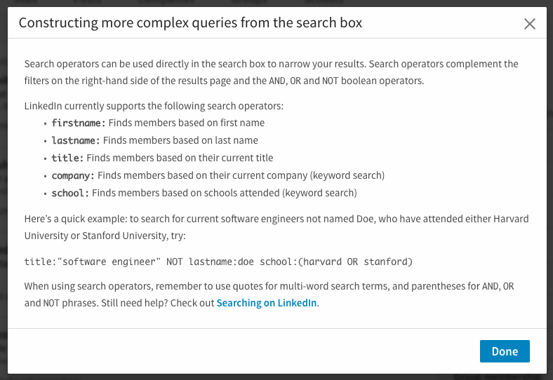 LinkedIn new Structuring Your Search modal