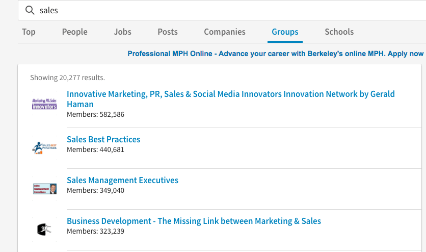 use keyword search to help you find groups on LinkedIn