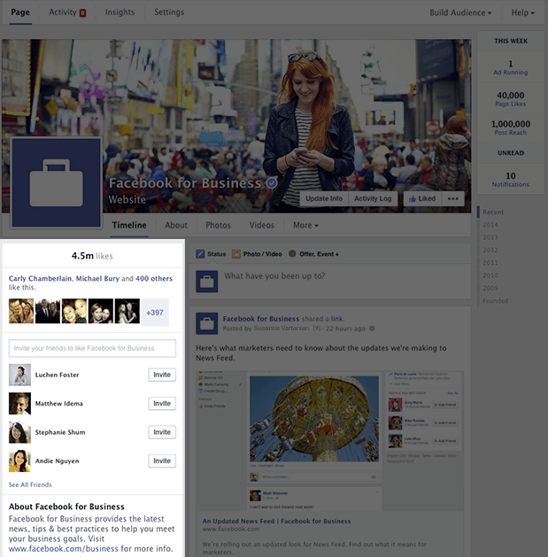 Facebook Company Page Streamlined Timeline