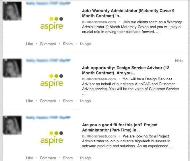 Continuous stream of job posting status updates on LinkedIn
