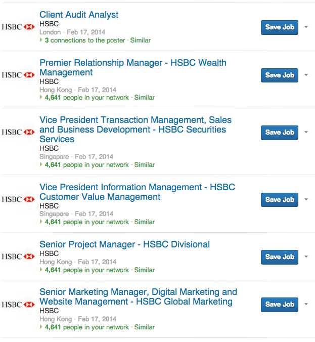 Job openings on LinkedIn