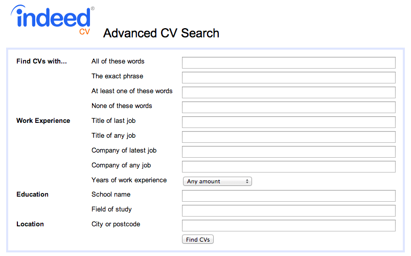how to find free cvs on indeed and contact them