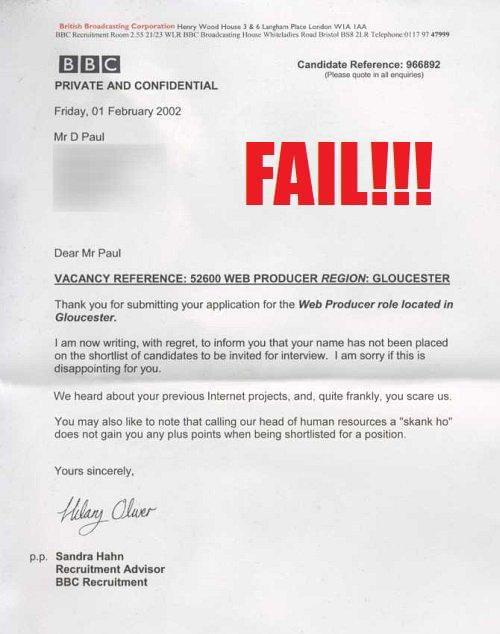 Greatest Employment Rejection Letters EVER! | SocialTalent