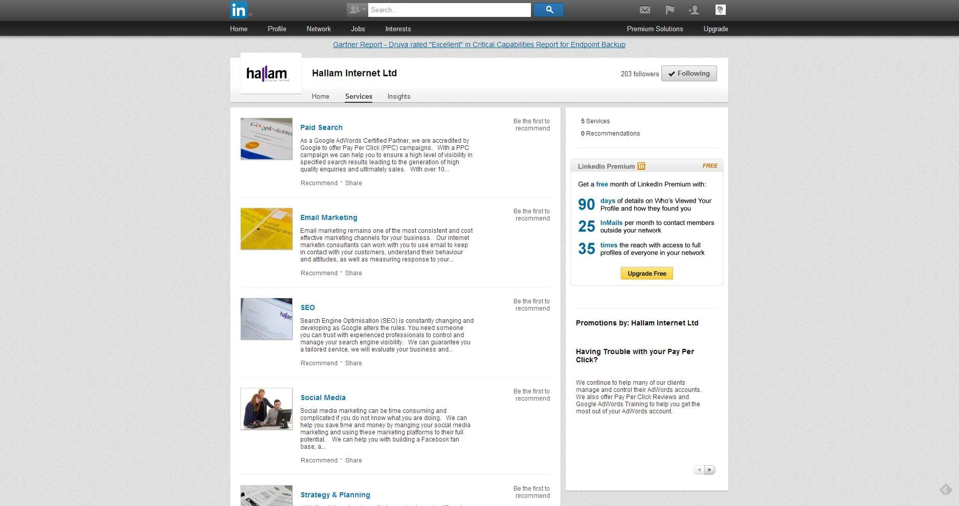 LinkedIn Products & Services Tab Removed