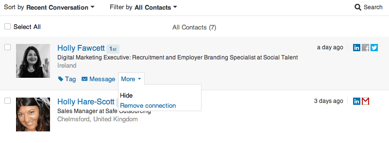 how to delete a contact on linkedin