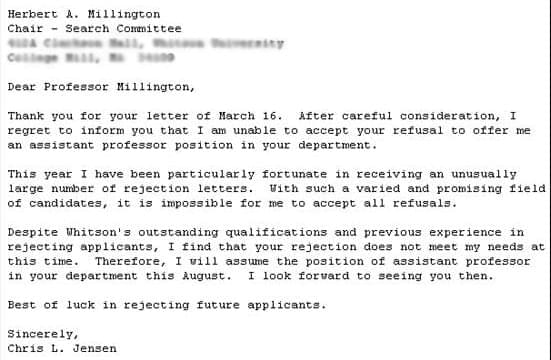 Greatest Employment Rejection Letters EVER SocialTalent